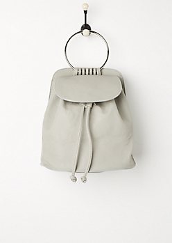 Gray Metal Ring Mini Backpack