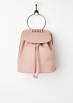 Pink Metal Ring Mini Backpack