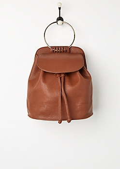 Cognac Metal Ring Mini Backpack