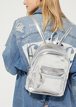 Silver Metallic Mini Backpack