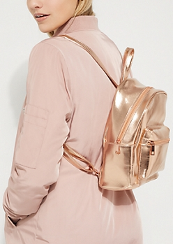 Rose Gold Metallic Mini Backpack