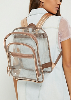 Rose Gold Metallic Double Zip Clear Backpack