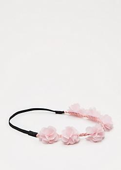 Light Pink Chiffon Flower Crown