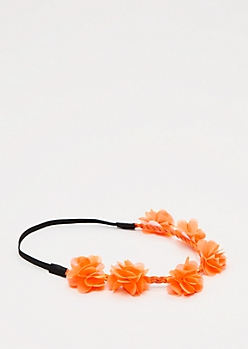 Neon Orange Chiffon Flower Crown