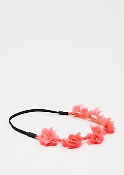 Neon Fuchsia Chiffon Flower Crown
