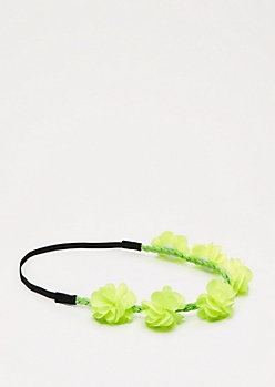 Neon Green Chiffon Flower Crown