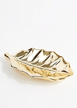 Metallic Gold Leaf Ring Tray