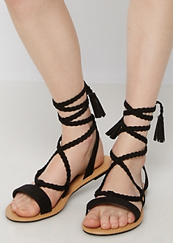 Black Braided Tassel Gladiator Sandals