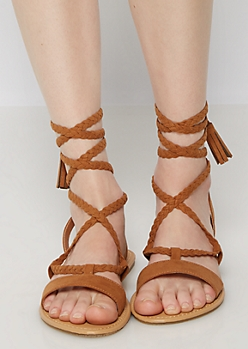 Cognac Braided Tassel Gladiator Sandals