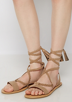 Tan Braided Tassel Gladiator Sandals
