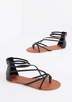 Black Braided Looping Gladiator Sandal