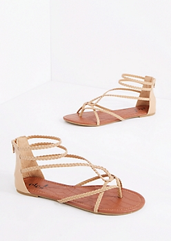 Taupe Braided Looping Gladiator Sandal