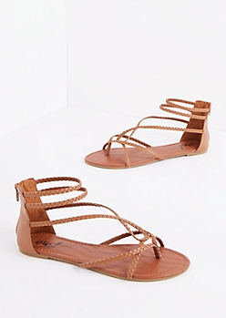 Cognac Braided Looping Gladiator Sandal