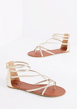 Metallic Braided Looping Gladiator Sandal