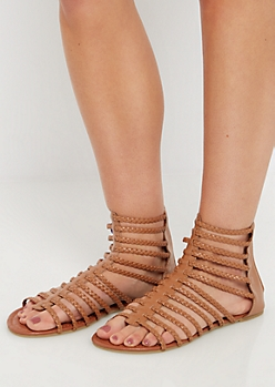 Cognac Braided Strappy Gladiator Sandal
