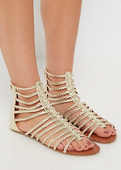 Golden Braided Strappy Gladiator Sandal