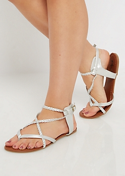 Silver Metallic Cross-Strap Sandal