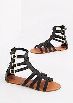 Black Tri-Buckled Gladiator Sandal