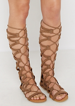 Taupe Braided Lace-Up Gladiator Sandal