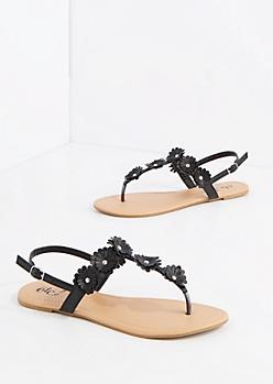 Black Studded Daisy T-Strap Sandal