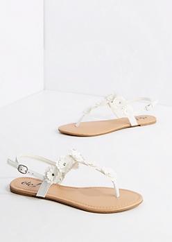 White Studded Daisy T-Strap Sandal