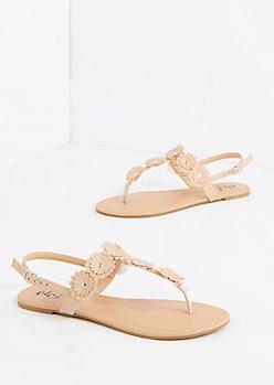 Nude Studded Daisy T-Strap Sandal