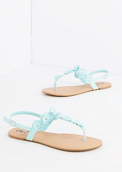 Light Blue Studded Daisy T-Strap Sandal