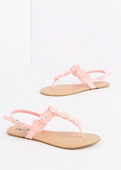Coral Studded Daisy T-Strap Sandal