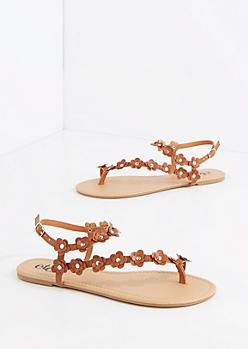 Cognac Daisy Climber Sandal