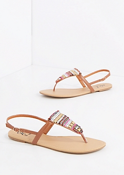 Bohemian Embellished T-Strap Sandal
