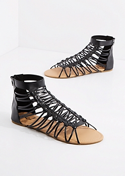Black Lattice Gladiator Sandal