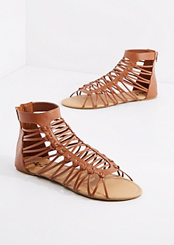 Cognac Lattice Gladiator Sandal