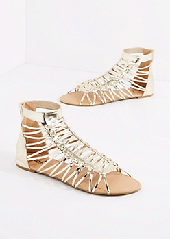 Gold Metallic Lattice Gladiator Sandal