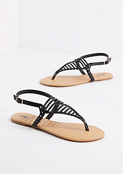 Black Caged Triangle Strap Sandal