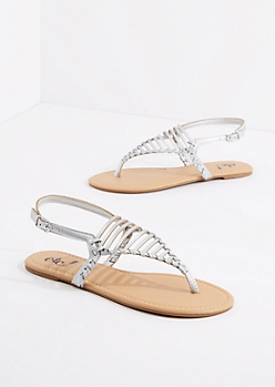 Silver Caged Triangle Strap Sandal