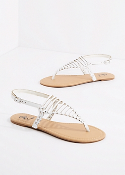White Caged Triangle Strap Sandal