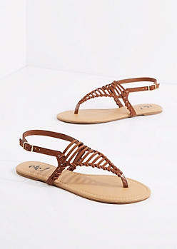 Cognac Caged Triangle Strap Sandal