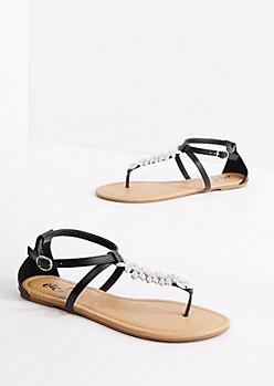 Black Stone Flower T-Strap Sandal