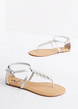 Silver Stone Flower T-Strap Sandal