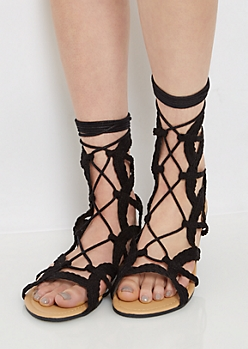 Black Braided Gladiator Sandal