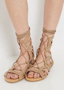Taupe Braided Gladiator Sandal