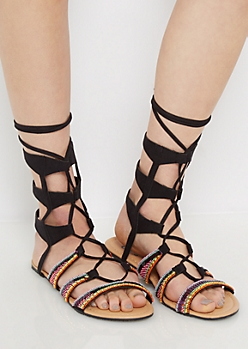 Black Rainbow Beaded Gladiator Sandal