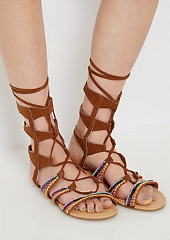 Cognac Rainbow Beaded Gladiator Sandal