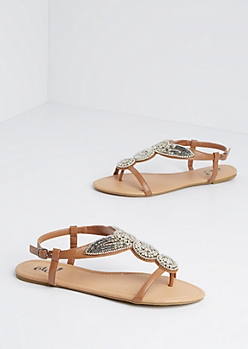 Silver Beaded Circle Shield Sandal