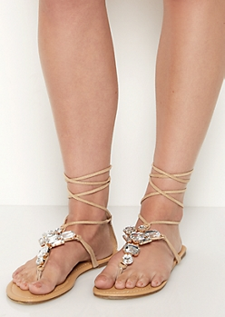 Gemstone Lace-Up Sandals