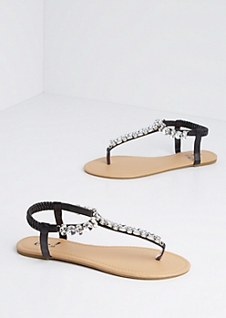 Black Jeweled T-Strap Sandal