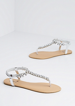 Silver Jeweled T-Strap Sandal