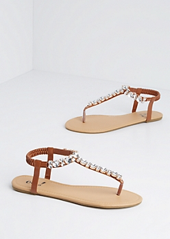 Brown Jeweled T-Strap Sandal