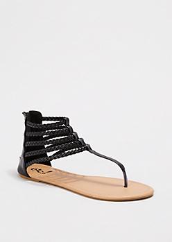 Black Braided Gladiator Sandal
