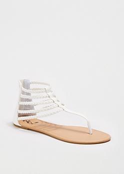 White Braided Gladiator Sandal